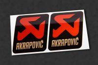 AKRAPOVIC V3 Metallic Auspuff-Aufkleber hitzefest, 2 Stück